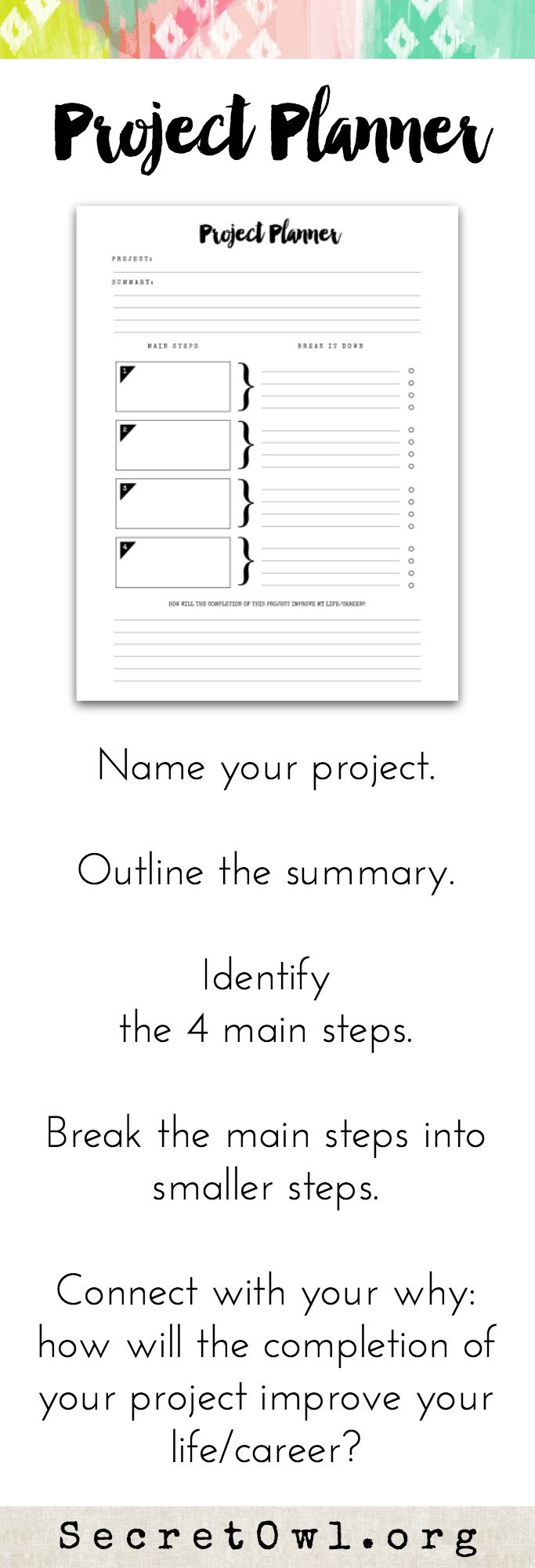 Every time you complete a project, you up-level your life. *This printable is a part of the Ultimate Life Binder. #projectplanner #Organise #CreativeProjects