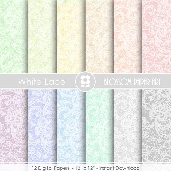 Lace Digital Paper, Lace Papers, Lace Scrapbook Digital Paper Pack, Lace, Wedding, Scrapbooking - INSTANT DOWNLOAD  - 1917