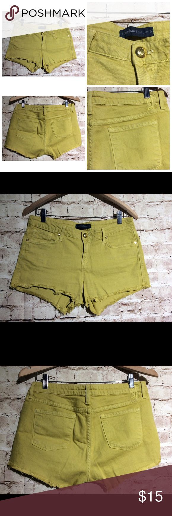 "JUICY COUTURE DAISY DUKE DENIM SHORT JEANS Cutoff JUICY COUTURE DAISY DUKE DENIM SHORT JEANS Cutoff SHORTS Mid-Rise sz 28 Mustard. Measurements  32"" waist  10.5"" outseam 38"" hips 9"" rise 24"" leg opening Juicy Couture Shorts"