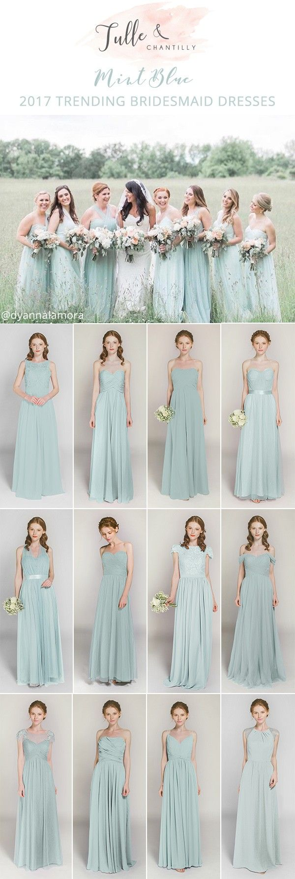 2017 trending mint blue bridesmaid dresses