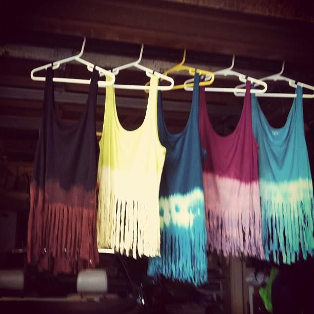 fringe tank: cut an old t into a tank, cut the bottom into fringes, tie at the top, dip halfway into bleach, let dry