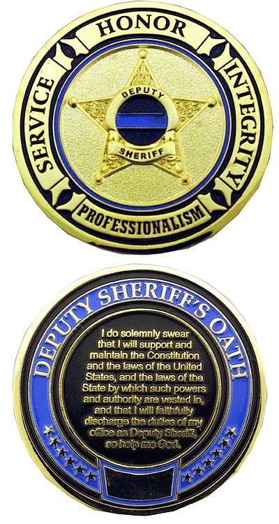 Deputy Sheriff's Oath - Thin Blue Line Challenge Coin