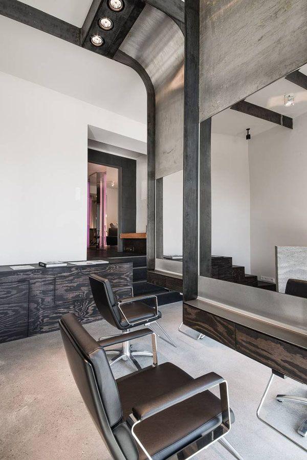 Modern industrial salon by Karhard Architecture + Design   Plastolux