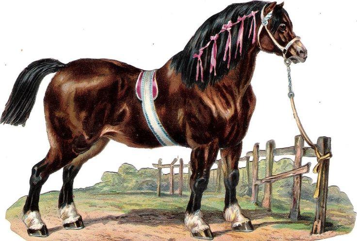 Oblaten Glanzbild scrap die cut chromo Pferd  17cm  horse cheval