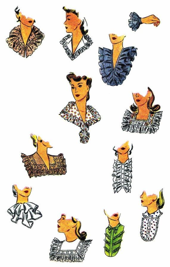 1940s fashion accessories: different style of collars and cuffs: Collar Set Detachable Cuffs Simplicity 4582 by patternshop, $49.99