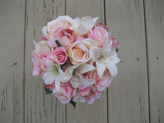 Wedding Bouquet Pink and Ivory by DESIGNSBYDME on Etsy, $72.00