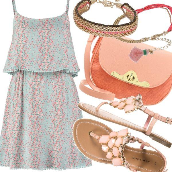 Adattissimo all'estate questo vestitino verde acqua a micro fantasia nelle tonalità del rosa e del pesca. Riprendiamo gli stessi colori negli accessori, nella tracollina e nei sandali gioiello. Un insieme delicato e fresco per le vostre giornate.