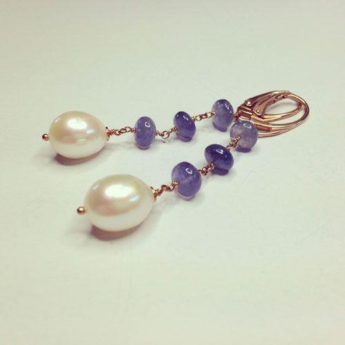 Orecchini in argento 925 placcato oro rosa perle e zaffiri blu