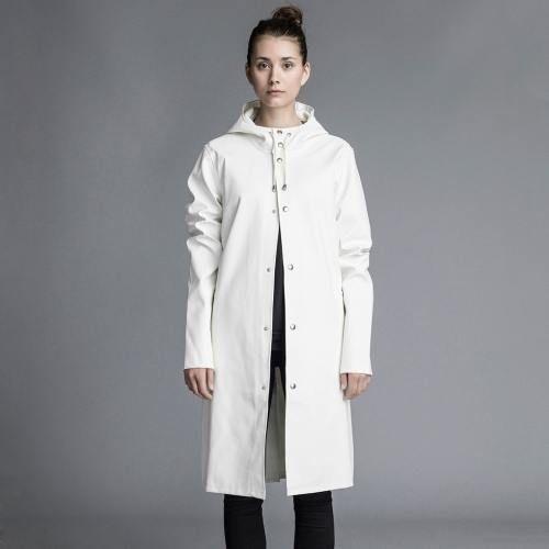 stockholm,long, raincoat, stutterheim, rainwear, unisex, white, hooded raincoat