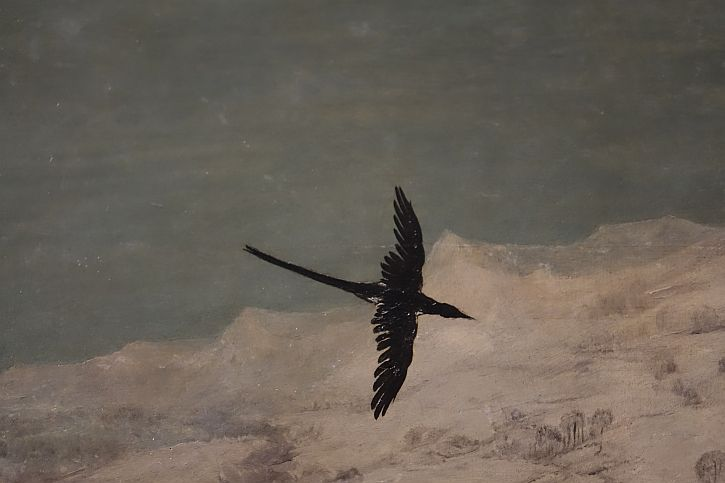 Hunters in the Snow, detail : bird in flight