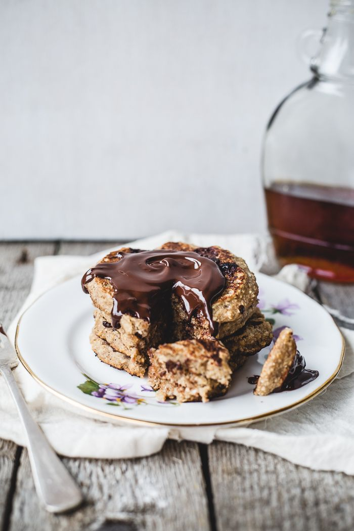 Oatmeal Chocolate Chip Cookie Pancakes #yummy #sweet