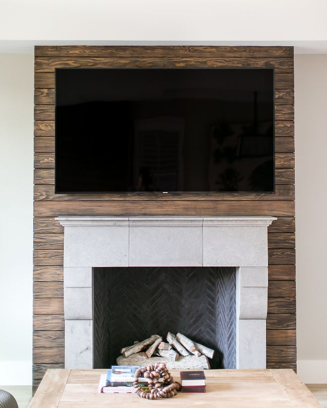 Stained shiplap. Stained shiplap fireplace #Stainedshiplap #Stainedshiplapfireplace #fireplace Patterson Custom Homes