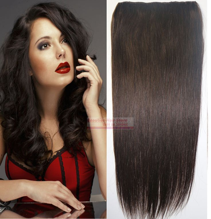 """16""""-32"""" 100% Brazilian Human Hair 1Pcs Set Single Hairpieces Clips In/on Extensions #2 dark brown 70g 80g 100g 120g 140g 160g"""