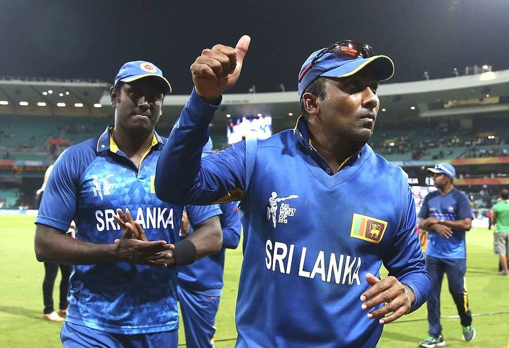 Mahela Jayawardene and Angelo Mathews of Sri Lanka leave the ground during the 2015 ICC Cricket World Cup Quarter Final match between South Africa and Sri Lanka at Sydney Cricket Ground on March 18, 2015 in Sydney, Australia.