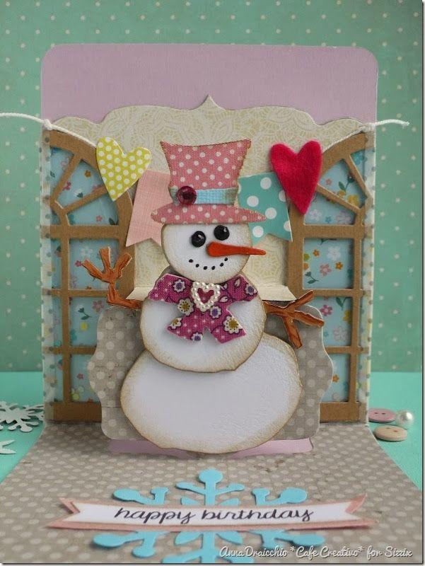 cafe creativo - Anna Drai - sizzix big shot - winter birthday card pop up