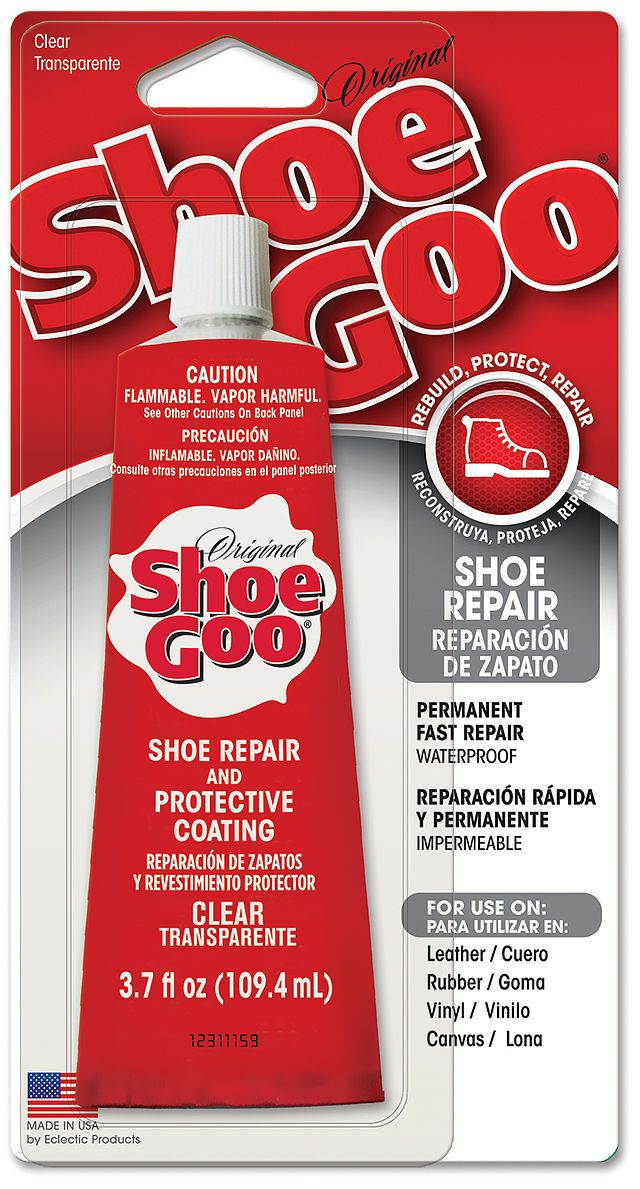 Shoe Goo works miracles on repairing shoes.  It reattaches soles, patches holes, and can rebuild heels.  Super durable and works well on sneakers and boots.