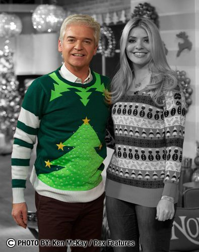Cheesy Christmas Jumpers as worn by Phillip Schofield on ITV's This Morning Dec '11