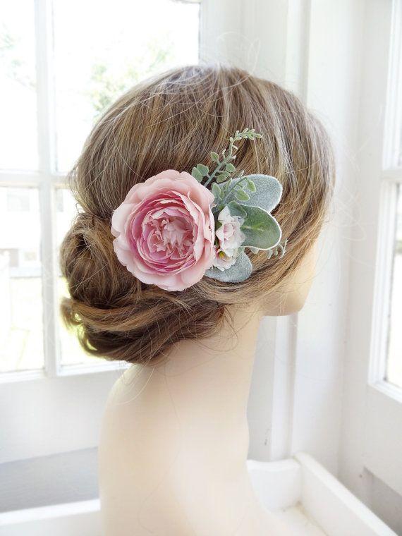 pink hair flower, bridal hair clip, wedding headpiece, peony hair clip, pink…