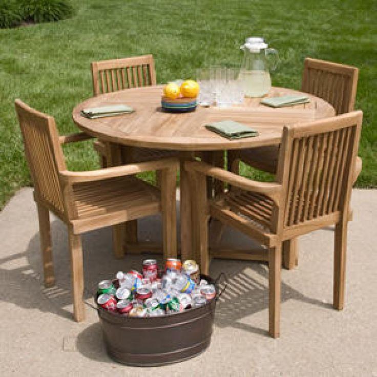 Orlando Teak Outdoor Round Dining Table Set