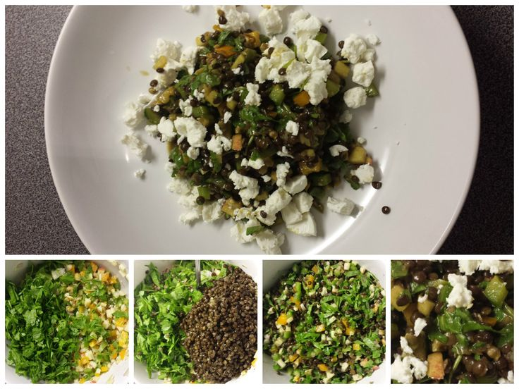 #Beluga #lentil #salad with crumbled goat cheese. I used #beluga #lentils, orange and green bell pepper, apple, walnuts and finely chopped arugula/rocket. Made a vinaigrette out of chopped onion, olive oil, veggie oil, pumpkin seed oil, salt & pepper, fresh lemon juice, dijon mustard, honey and balsamic vinegar. Finished the salad with some goat cheese. Done! Easy peasy :-) Enjoy!