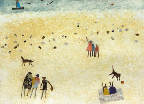 'Two Dogs On The Beach' By Painter Hannah Hann. Blank Art Cards By Green Pebble. www.greenpebble.co.uk