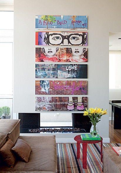 Neste apê, a brisa leve vem das telas do fotógrafo Lufe Gomes, com registros de grafites de Nova York. Todos os demais elementos com cor se relacionam de alguma maneira com a obra, entre eles, o tapete de listras coloridas e a mesa de acrílico vermelho