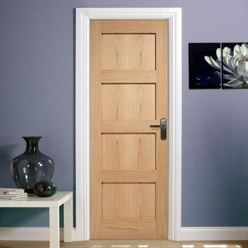 Contemporary 4 Panel Oak Fire Door is 1/2 Hour Fire Rated.
