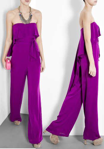 Halston Heritage Purple Silk Strapless Jumpsuit