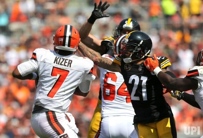 Pittsburgh Steelers Joe Haden sacks Cleveland Browns quarterback DeShone Kizer during the second quarter at First Energy Stadium in…