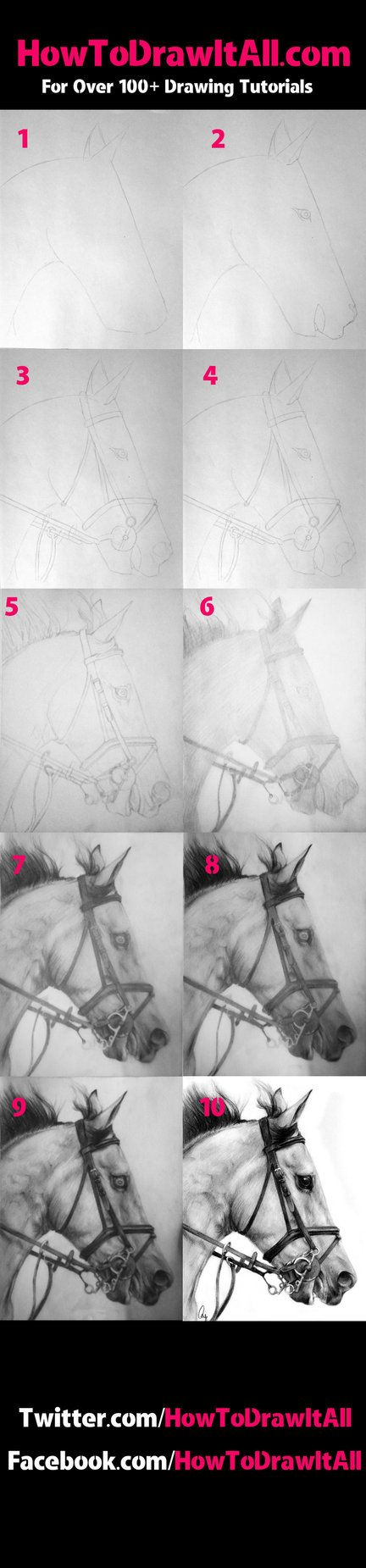 [link] TO GO TO THE FULL TUTORIAL WITH WORDS!! More Horse Tutorials- MORE DRAWING TUTORIALS AT WWW.HOWTODRAWITALL.COM FACEBOOK.COM/HOWTODRAWITALL TWITTER.COM/HOWTODRAWITALL