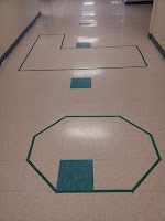 Area and perimeter with floor tiles in the classroom or hallway!...ceiling???