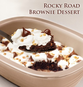 Pampered Chef Rocky Road Brownies made in the microwave