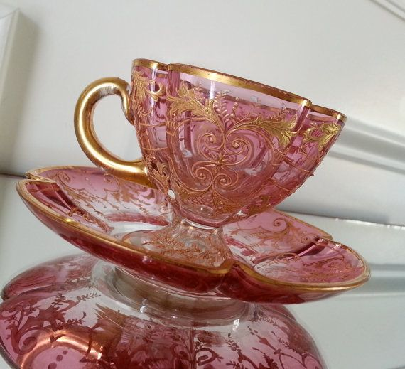 Antique Moser cranberry glass demitasse tea cup and saucer, bohemian glass, gold gilt, quatrefoil cup,
