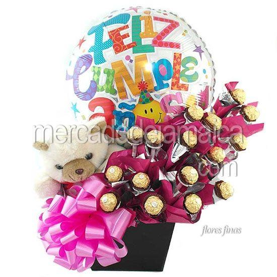 Arreglo con Dulces de Chocolate Muchas Felicidades !| Envia Flores