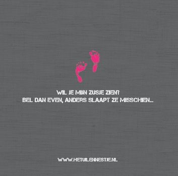 Flore Geboortekaartje Zusje Stoer Roze Grijs