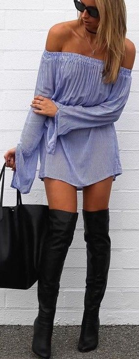 #summer #cool #outfits   Off The Shoulder Striped Dress