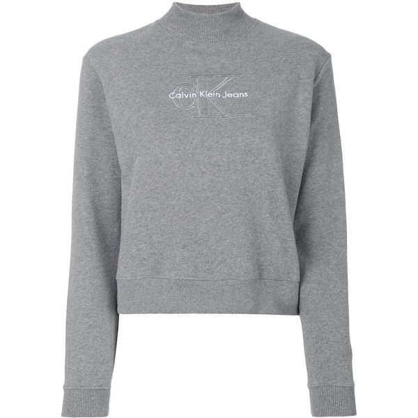 Calvin Klein Embroidered Logo Sweatshirt 415 Aed Liked On Polyvore Featuring Tops H Long Sleeve Cotton Tops Grey Long Sleeve Tops Calvin Klein Sweatshirts