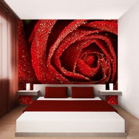 Ogniście czerwona róża z kroplami rosy będzie świetną ozdobą sypialni.