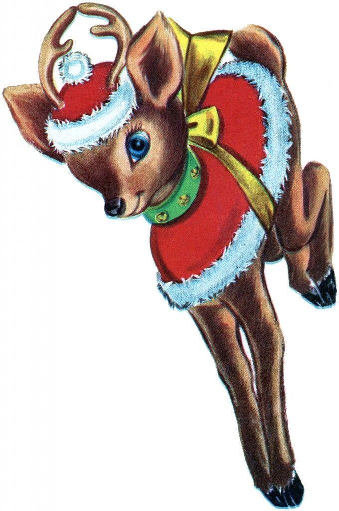 Retro Christmas Reindeer Image to print