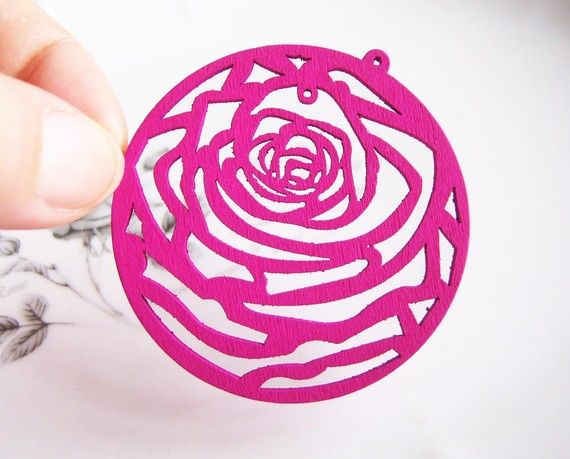 [BEAUTY & THE BEAST]  Hollow Series4pcs 50mm Romantic Hot Pink Big Roses by colorhouse