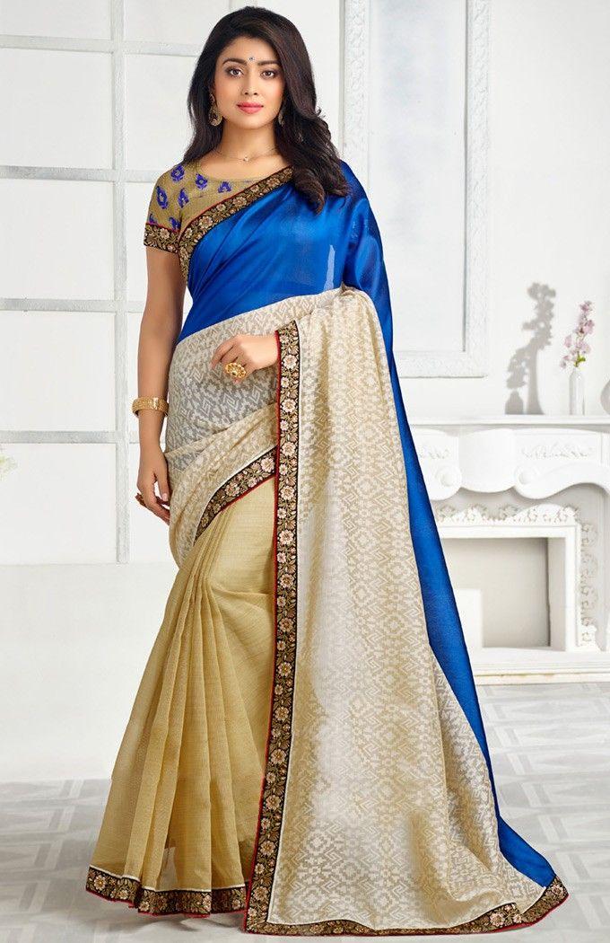 Shriya Saran In Brown #Banarasi #Silk #Saree with Blouse