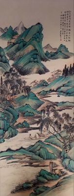 Hand painted large scroll painting《陆小曼-山水》 - China - late 20th century