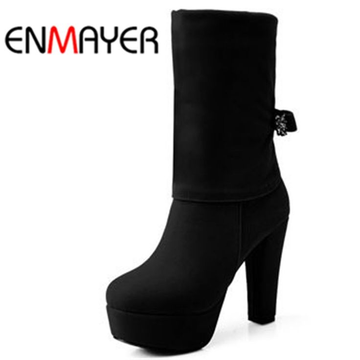 31.83$  Buy here - http://ailwo.worlditems.win/all/product.php?id=1988771789 - ENMAYER New 2016 Vintage Fashion High Mid-Calf Bow Women Boots Winter Platform Snow Boots Women Winter Wedding Boots Shoes