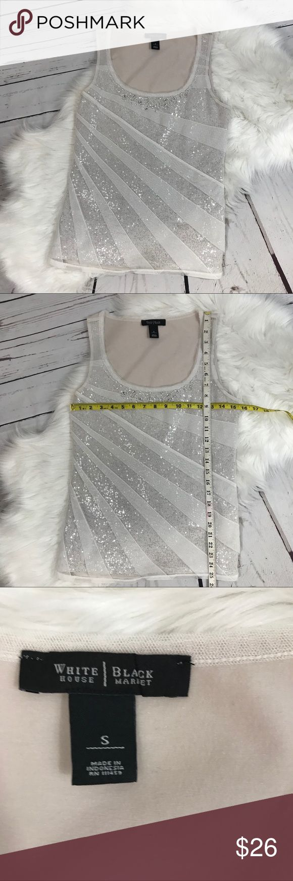 WHBM small white tiered sequin tank top WHBM small white tiered sequin tank top White House Black Market  White is almost a winter white or had a hint of silver to it    (And more of off white on the back)  Y311 White House Black Market Tops Tank Tops