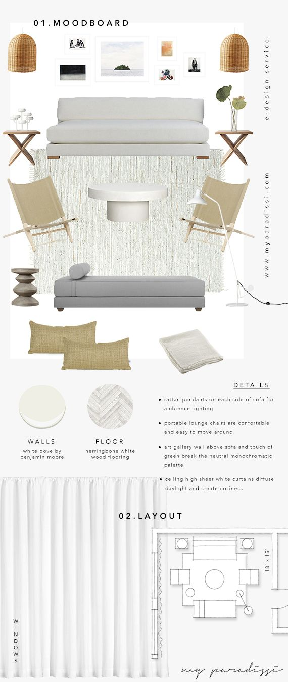 E Design Service By My Paradissi   Moodboard And Floorplan Layout