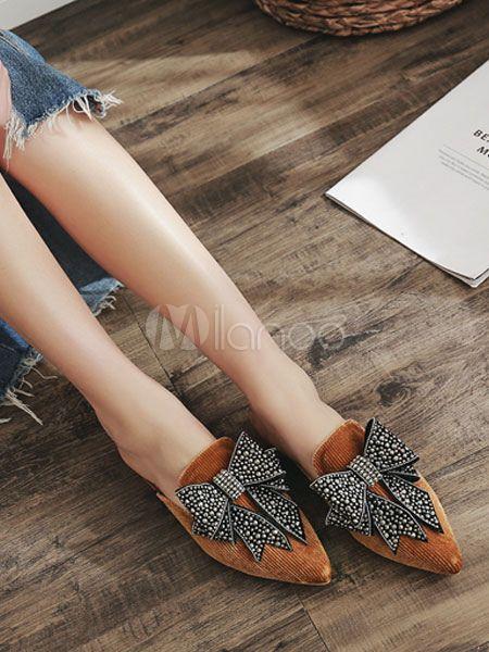 42d570860ec3a5 Black Mules Women Pointed Toe Rhinestones Bow Backless Flat Shoes -  Milanoo.com