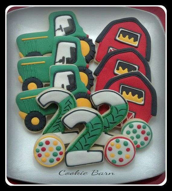 Tractor Barn Farm Birthday Decorated Cookies