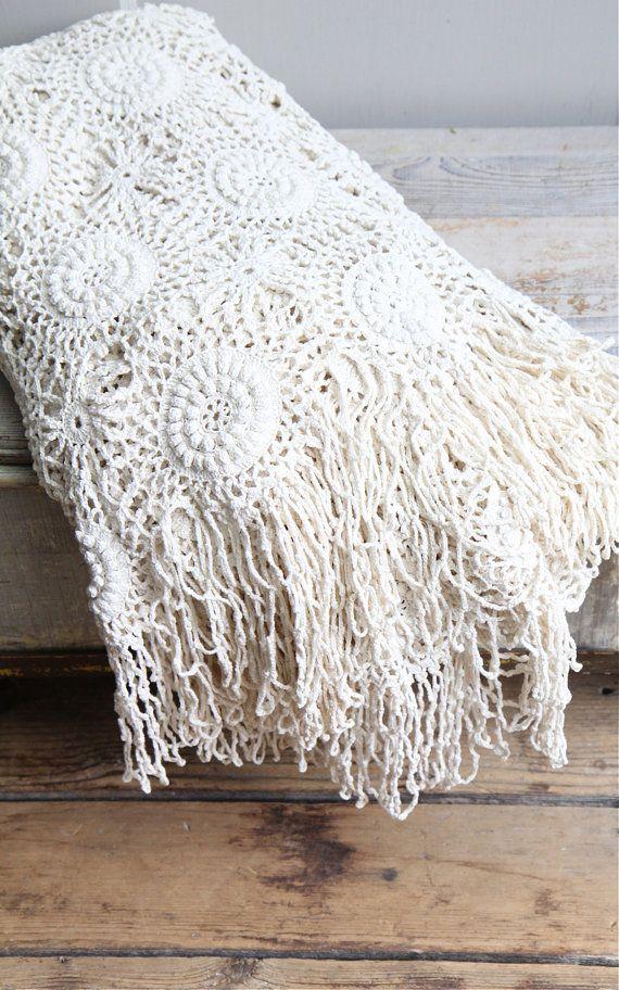 Vintage Crochet Bedspread / Coverlet Throw Bohemian by ethanollie, $150.00