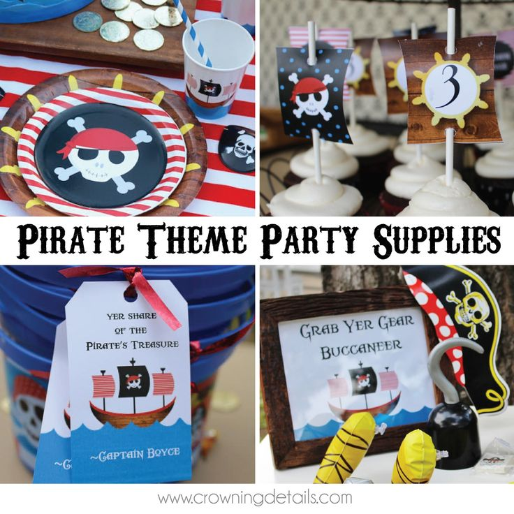 Throw an epic pirate party with our exclusive pirate party supplies! Get more party inspiration and shop this theme on the blog!  #piratepartyideas #pirateparty #piratetheme #piratepartysupplies #pirateplates #piratecups #pirateinvitation