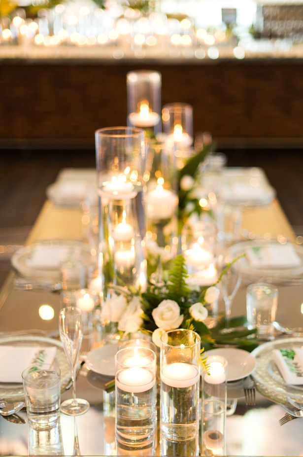 Contemporary Glamorous Wedding With Tropical Vibes Wedding Candles Table Long Table Wedding Candle Wedding Centerpieces